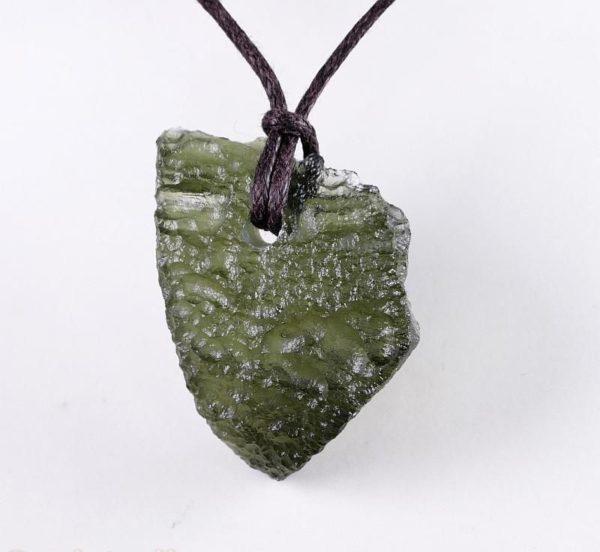 Genuine Moldavite Drilled Pendant on Cord (3.7grams) 2