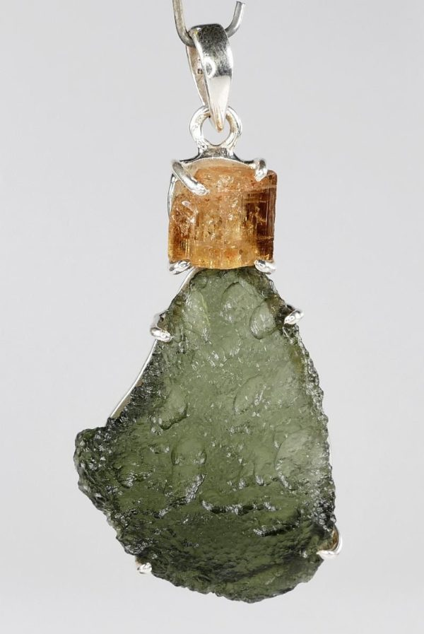 Raw Moldavite with Imperial Topaz Sterling Silver Pendant (12.2grams) 2