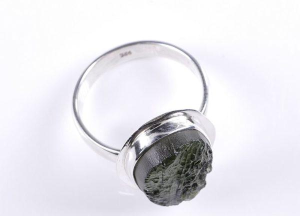 Beautiful Raw Moldavite Sterling Silver Ring (5.3grams) Ring Size: 59 (US 8 7/8) 2
