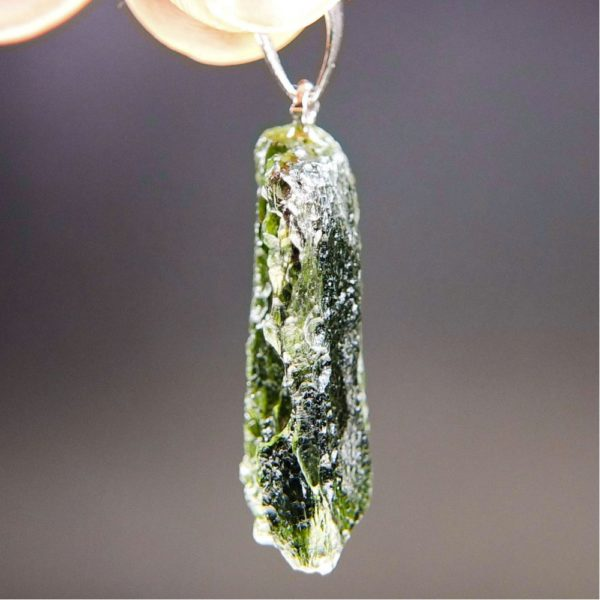 Bottle Green Shiny Moldavite Pendant With Certificate Of Authenticity (5.24grams) 3