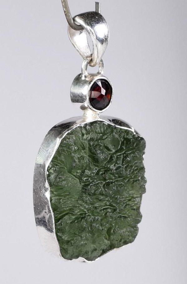 Elegant Rare Moldavite with Garnet Mounted In Sterling Silver (6.5grams) 3