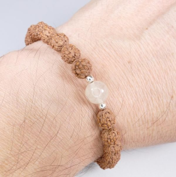 8mm Libyan Desert Glass Bead and Powerful Rudraksha Bracelet (5.0grams) 3