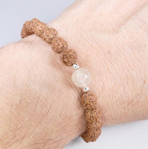 8mm Libyan Desert Glass Bead and Powerful Rudraksha Bracelet (5.0grams) 3