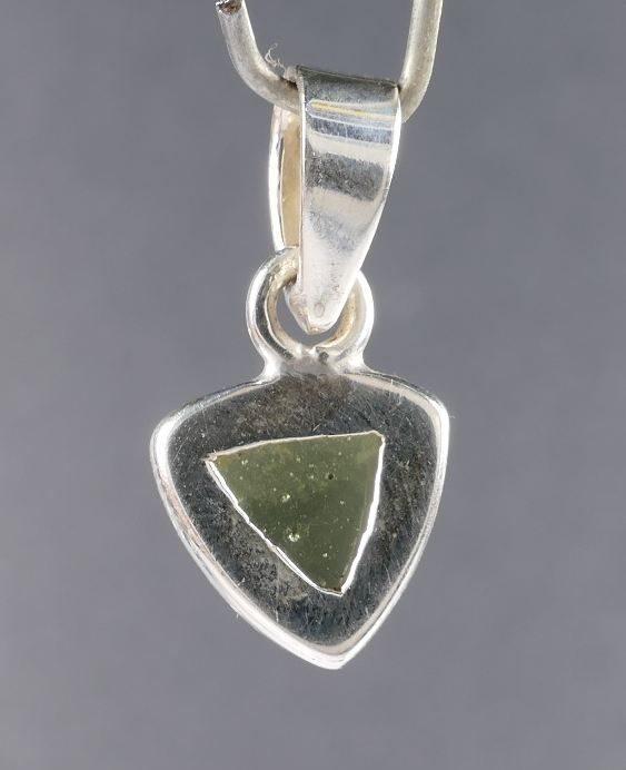 Beautiful Raw Plain Cut Moldavite in Sterling Silver Pendant (1.1grams) 3