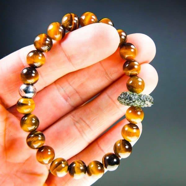 Tyger's Eye Beads Moldavite Bracelet With Certificate Of Authenticity (20.01grams) 3