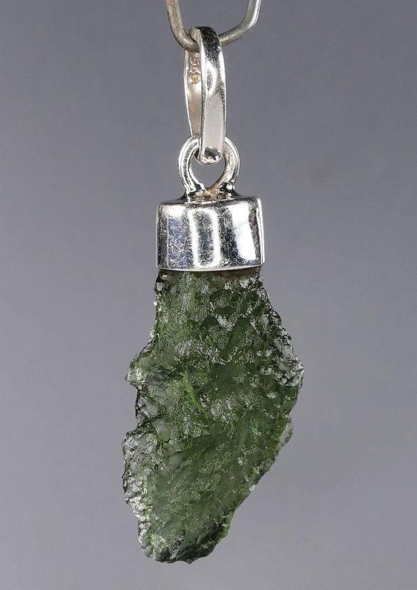 Unique Shape Moldavite in Sterling Silver Pendant (2.8grams) 3