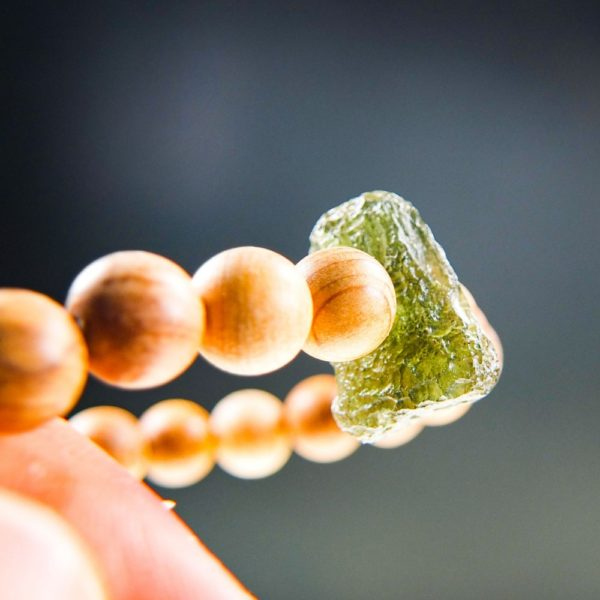 Quality A Moldavite Bracelet With Chestnut Wood Beads And Certificate Of Authenticity (7.72grams) 3