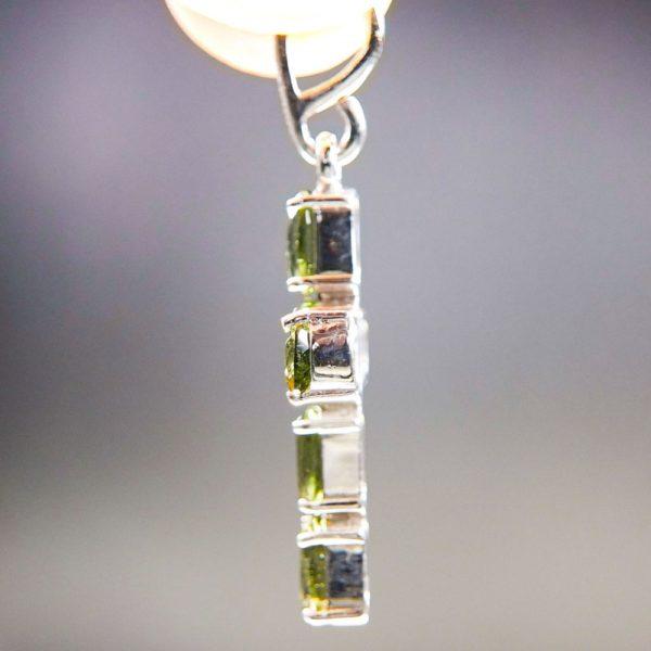 Bottle Green Cross Shape Moldavite Pendant With Certificate Of Authenticity (2.53grams) 3