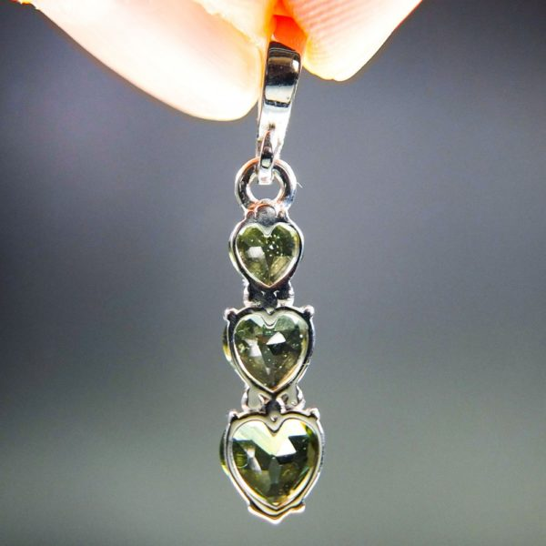 Three Heart Moldavite With Red Garnets And Certificate Of Authenticity (1.8grams) 3