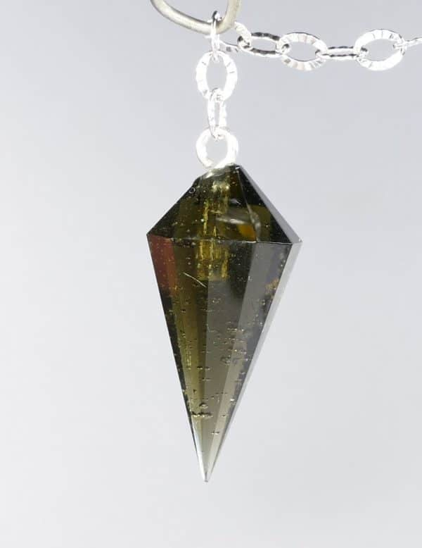 Fine Quality Gemmy Moldavite Pendulum with Silver Chain (1.8grams) 3