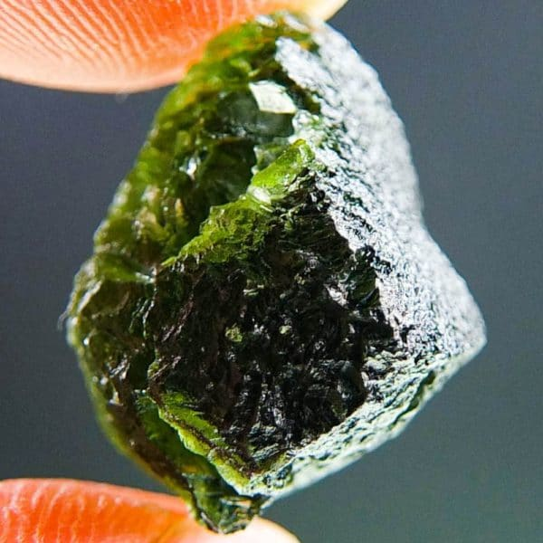 Shiny Moldavite With Two Kinds Of Sculpture (3.36grams) 3