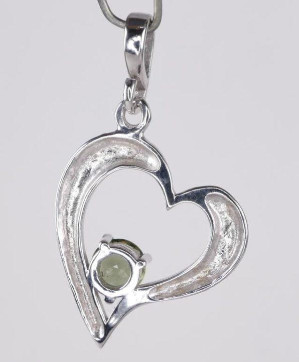 Round Cut Moldavite Heart Shape Sterling Silver Pendant (2.9grams) 3
