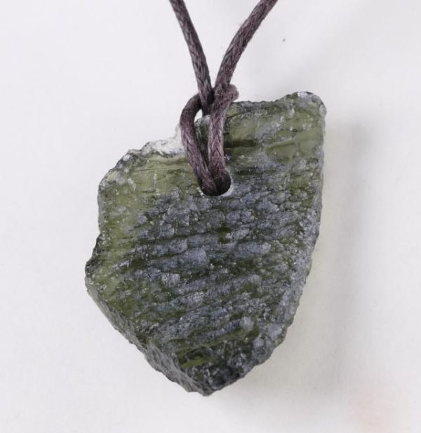 Genuine Moldavite Drilled Pendant on Cord (3.7grams) 3