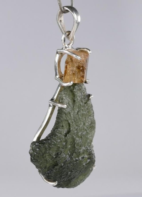 Raw Moldavite with Imperial Topaz Sterling Silver Pendant (12.2grams) 3