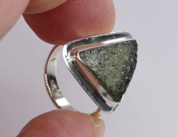 Beautiful Raw Moldavite Sterling Silver Ring (4.7grams) Ring Size: 51 (US 5 7/8) 3