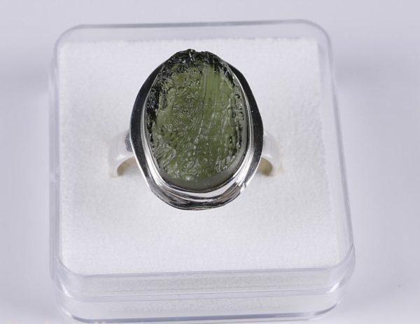 Beautiful Raw Moldavite Sterling Silver Ring (5.3grams) Ring Size: 59 (US 8 7/8) 3