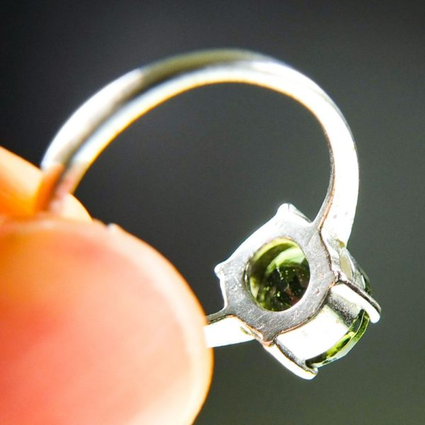 Bottle Green Faceted Moldavite Ring (2.3grams) With Certificate Of Authenticity (US 8)4