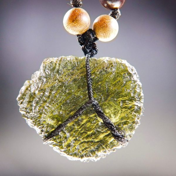 Quality A+ Moldavite Necklace with Phoebe and Rosewood Beads and Certificate of Authenticity (26.92grams) 4