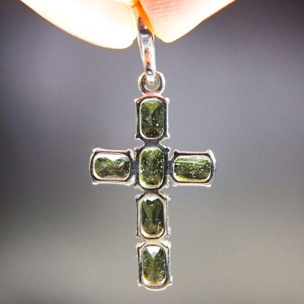 Bottle Green Cross Shape Moldavite Pendant With Certificate Of Authenticity (2.53grams) 4