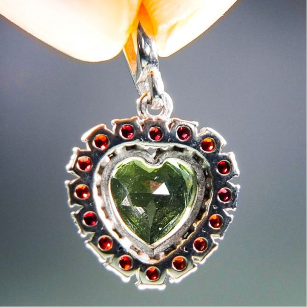 Heart Shape Moldavite Plus Red Faceted Garnets Pendant With Certificate Of Authenticity (2.28grams) 4