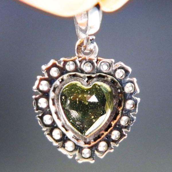 Heart Shape Moldavite Plus Zircons Pendant With Certificate Of Authenticity (2.31grams) 4