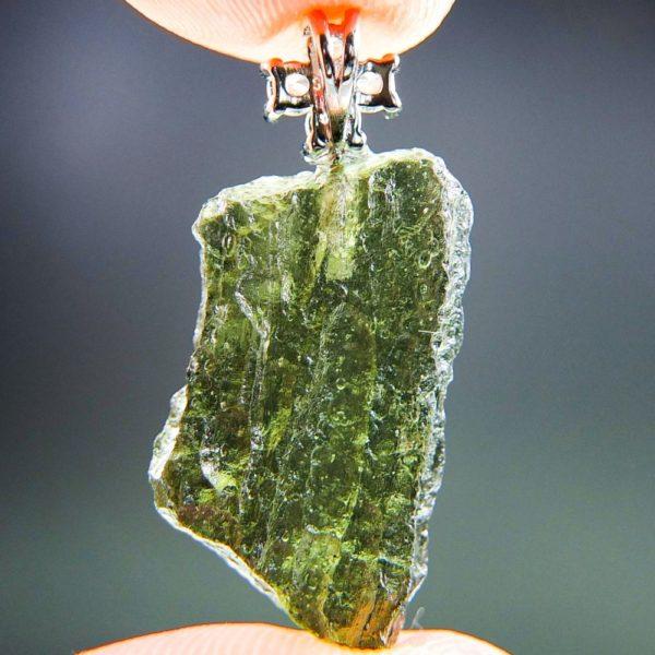 Bottle Green Moldavite Pendant Plus Cross Zircons With Certificate Of Authenticity (2.69grams) 4
