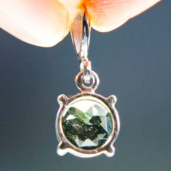 Round Shape Cut Moldavite Pendant With Certificate Of Authenticity (2.0grams) 4