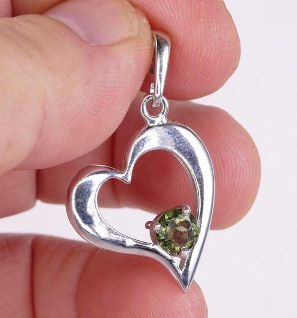 Round Cut Moldavite Heart Shape Sterling Silver Pendant (2.9grams) 4
