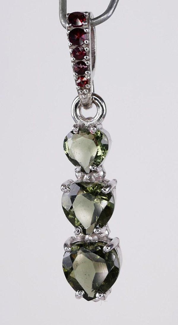 Three Heart Moldavite With Garnet Sterling Silver Pendant (2.0grams) 4