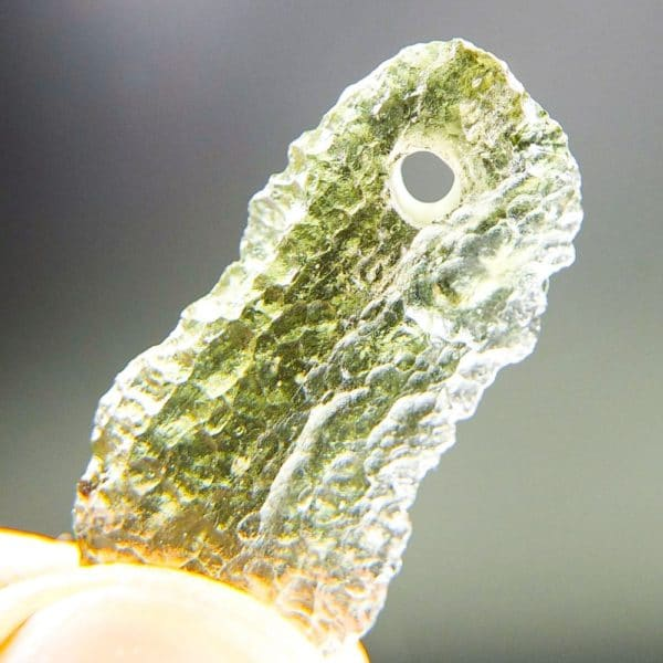 Bottle Green Drilled Moldavite with Certificate of Authenticity (1.6grams) 4