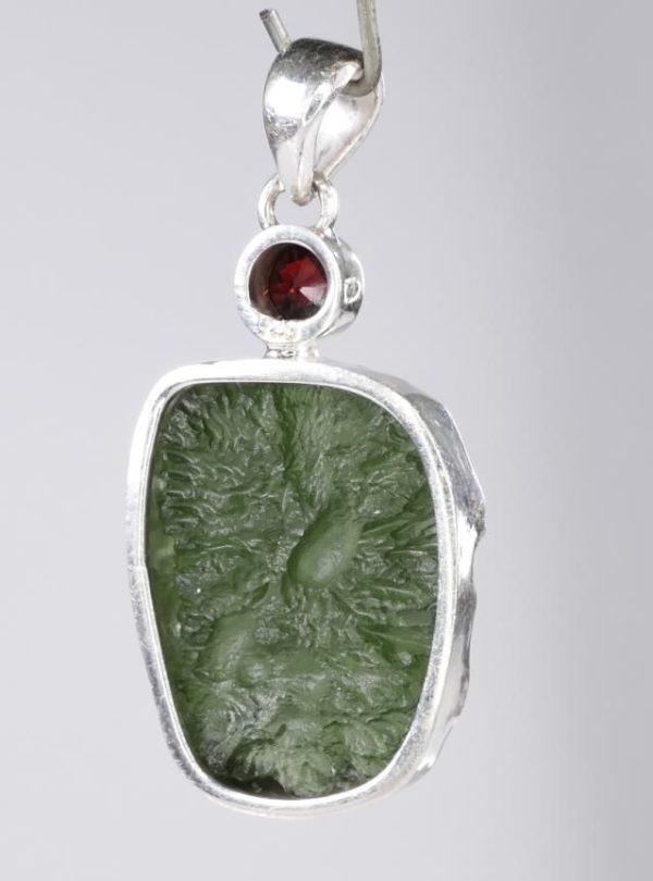 Elegant Rare Moldavite with Garnet Mounted In Sterling Silver (6.5grams) 4