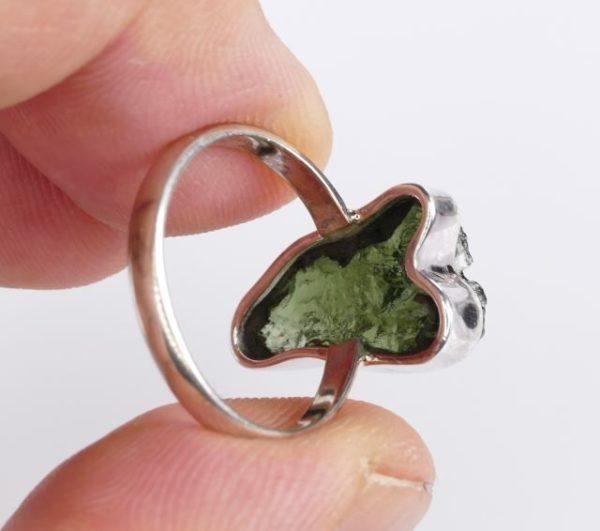 Elegant Raw Moldavite in Sterling Silver Ring (3.2grams) Ring Size: 54 (USA 7) 4