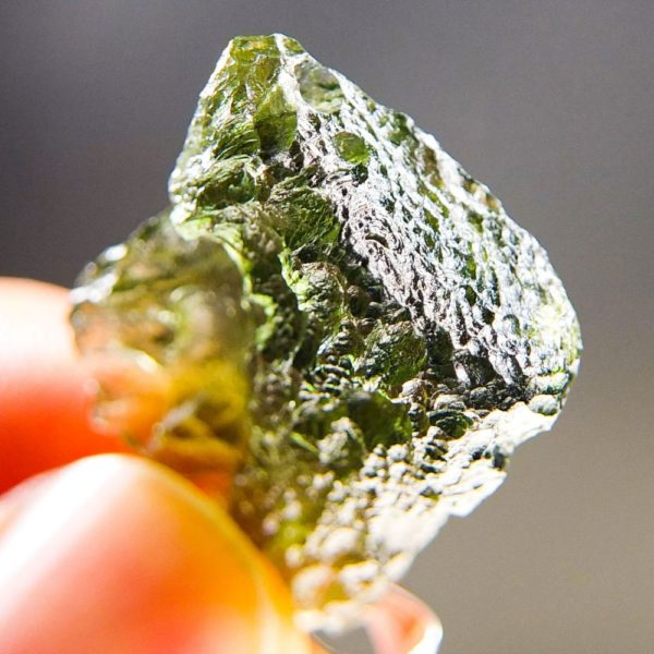 Bottle Green Shiny Moldavite Pendant With Certificate Of Authenticity (5.24grams) 5