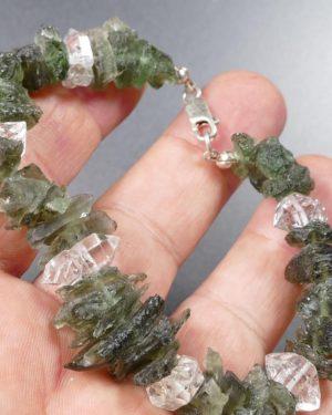 Raw Moldavite Bracelet With Herkimmer Diamond Quartz Silver Bracelet (23.4grams) 1