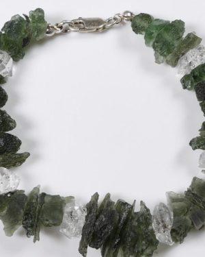 Raw Moldavite Bracelet With Herkimmer Diamond Quartz Silver Bracelet (23.4grams) 2