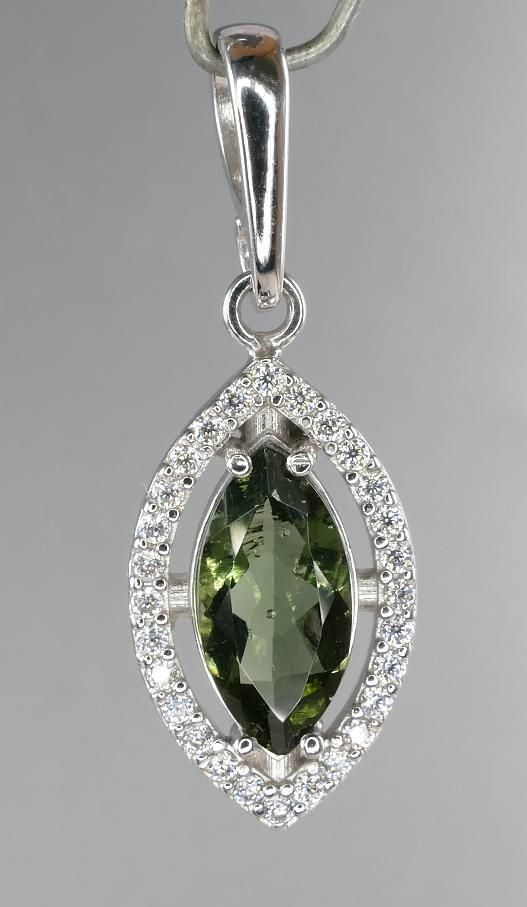 Moldavite With Cubic Zirconia Sterling Silver Pendant (2.2grams) 1