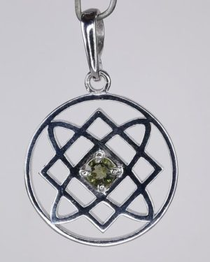 4.5mm Moldavite In Lada Star Symbol Sterling Silver Pendant (4.9grams) 1