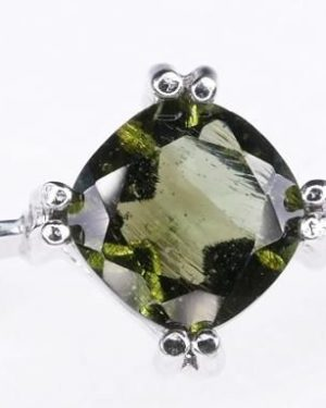 Elegant Moldavite In Sterling Silver Ring (2.6grams) Ring Size: 53 (USA 6.5) 1