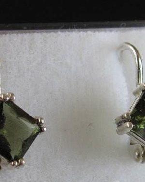 Beautiful Rare Square Shape Moldavite Sterling Silver Earrings (2.1grams) 1