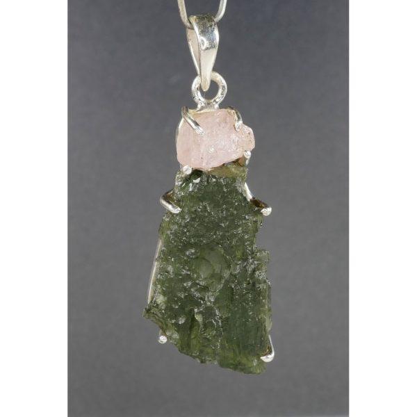 Genuine Raw Moldavite With Morganite Sterling Silver Pendant (8.3grams) 1
