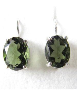 Oval Faceted Moldavite In Sterling Silver Earrings (2.4grams) 1