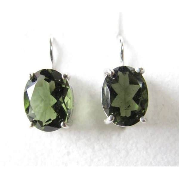 Oval Faceted Moldavite In Sterling Silver Earrings (2.4grams) 1