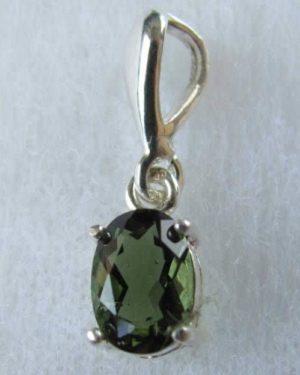 Elegant Unique Moldavite In Sterling Silver Pendant (0.8gram) 1