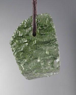 Genuine Fine Shape Drilled Moldavite Necklace (3.5grams) 1