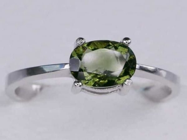 Beautiful Shape Moldavite In Sterling Silver Ring (1.8grams) Ring Size: 57 (USA 8 1/4) 1