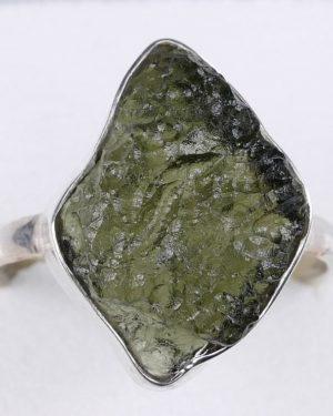 Elegant Raw Shape Moldavite In Sterling Silver Ring (3.6grams) Ring Size: 59 (USA 8 7/8) 1