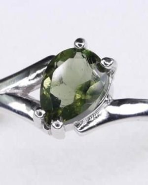 Excellent Shape Moldavite In Sterling Silver Ring (1.8grams) Ring Size: 57 (USA 8 1/4) 1