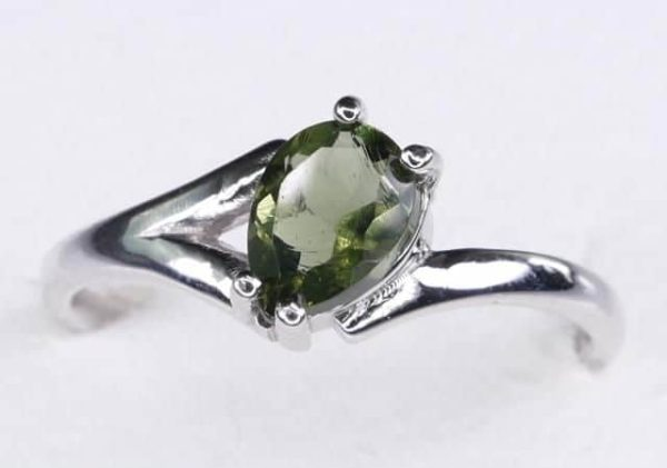Excellent Shape Moldavite In Sterling Silver Ring (1.8grams) Ring Size: 55 (USA 7 1/2) 1