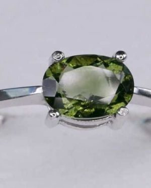 Oval Shape Moldavite In Sterling Silver Ring (1.8grams) Ring Size: 51 (USA 5 7/8) 1