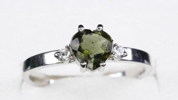 Elegant Heart Shape Moldavite In Sterling Silver Ring (2.0grams) Ring Size: 57 (USA 8 1/4) 1
